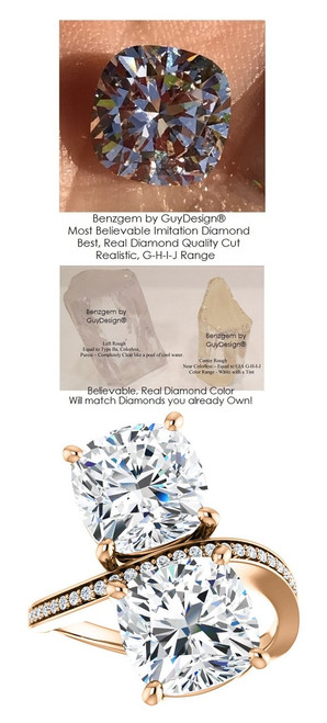 6 Carat and 42 points, Ladies Mined Diamond Semi-Mount Two Stone Forever Rose Gold Ring, Benzgem by GuyDesign® Premium Cushion G-J Color Diamond Simulation 7049