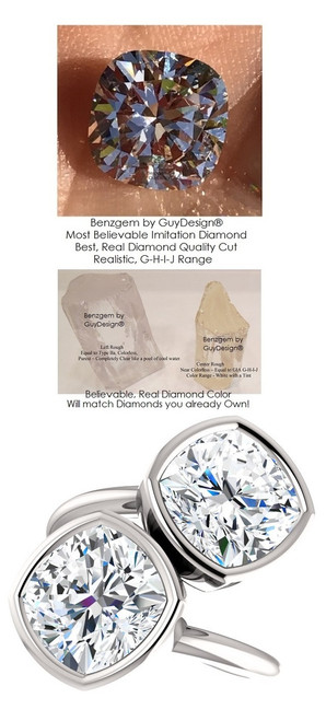 6 Carat and 42 points, Ladies Modern Contemporary Two Stone Platinum Bezel Set Ring, Benzgem by GuyDesign® Premium Cushion G-J Color Lab-Created Imitation Diamond 7052