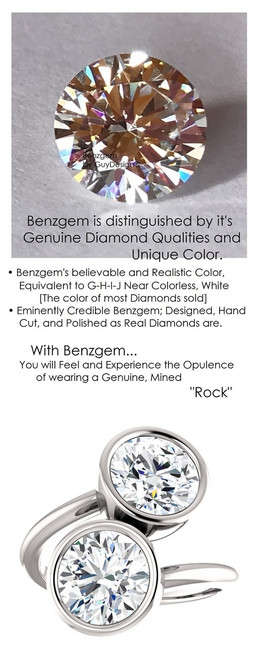 3.82 Ct. Ladies Modern Contemporary Two Stone Platinum Bezel Set Ring, Benzgem by GuyDesign® Premium Hearts & Arrows G-J Color Lab-Created Imitation Diamond 7053