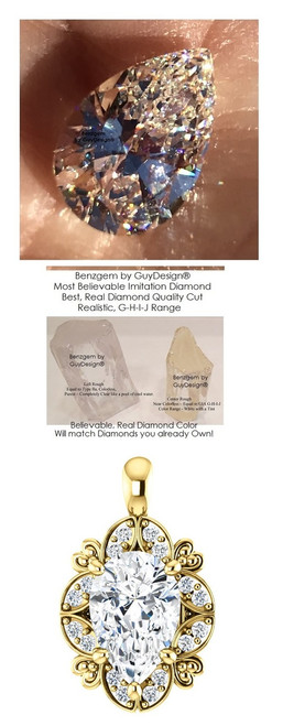 2.85 Ct. Pear Shape Hand Cut Benzgem: Best G-H-I-J Diamond Quality Color Imitation; GuyDesign® Mined Diamond Semi-Mount Pendant Necklace: 14 Karat Yellow Gold Custom Jewelry - 7062