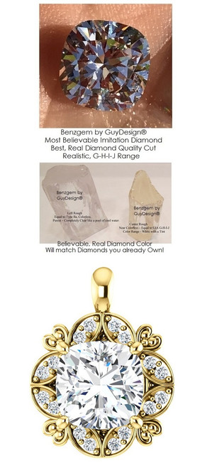 3.21 Ct. Hand Cut Antique Square Cushion Cut Benzgem: G-H-I-J Diamond Quality Color Imitation; GuyDesign® Ladies Mined Diamond Semi-Mount Pendant Necklace: Custom 14 Karat Yellow Gold Jewelry - 7063