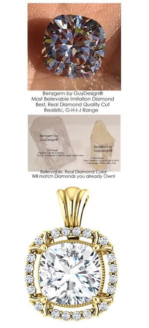 3.21 Ct. Hand Cut Antique Square Cushion Cut Benzgem: G-H-I-J Diamond Quality Color Imitation; GuyDesign® Ladies Mined Diamond Halo Semi-Mount Pendant Necklace: Custom 14 Karat Yellow Gold Jewelry - 7065