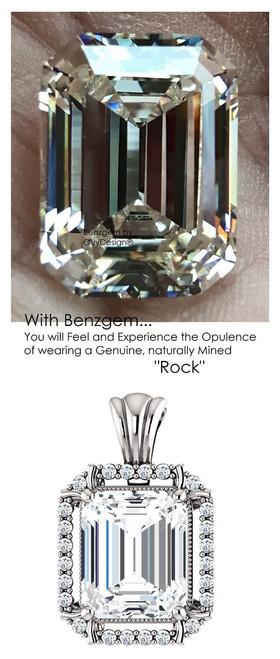 5.50 Ct. Brilliant Emerald Cut Benzgem: Best G-H-I-J Diamond Quality Color Imitation; GuyDesign® Mined Diamond Halo Pendant Necklace: Fine Gold Custom Jewelry - 7067
