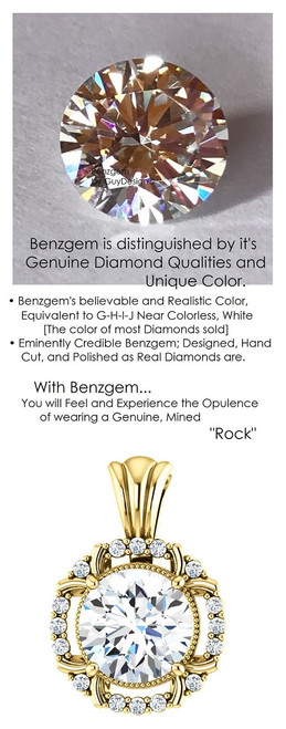1.91 Carat Hearts and Arrows Benzgem: Best G-H-I-J Diamond Quality Color Imitation; GuyDesign® Mined Diamond Halo Pendant Necklace: Custom Gold Jewelry - 7069