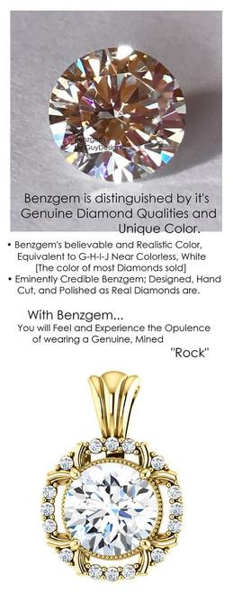 1.91 Carat Hearts and Arrows Benzgem: Best G-H-I-J Diamond Quality Color Imitation; GuyDesign® Mined Diamond Halo Pendant Necklace: Custom Gold Jewelry - 7069