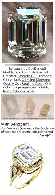 5.50 Carat Believable Simulated Diamond Emerald Cut Benzgem matches Convincingly the Natural Diamond Semi-Mount; GuyDesign Halo Engagement or Right-Hand Ring - 14k Yellow Gold, 7073,