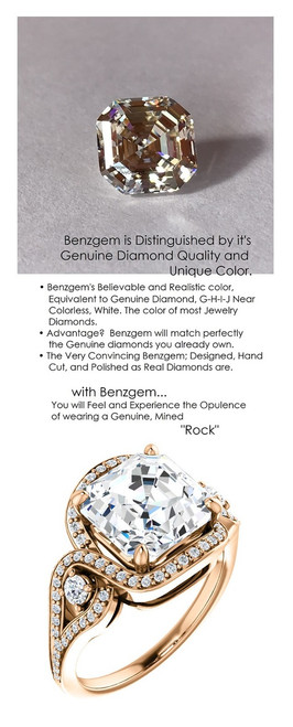 4 Carat and 50 points, Benzgem by GuyDesign® Best Asscher Cut Diamond Copy, Mined Diamond Semi Mount and Gold Ring 7075