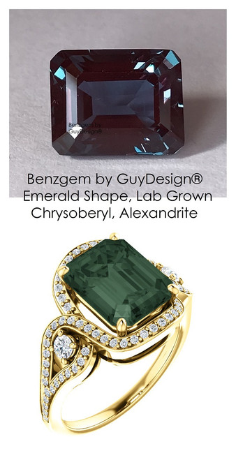3 Stone Engagement Ring, Alexandrite Engagement Rings, Halo Engagement Rings, Diamond Semi-Mount, Emerald Cut, Yellow Gold, Natural Diamond, Wedding Sets,