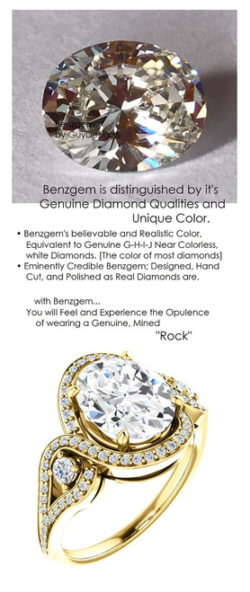 2.66 Ct. Benzgem by GuyDesign® Best Oval Shape Diamond Copy, Mined Diamond Semi Mount and Gold Ring 7079