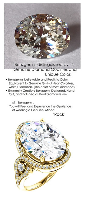 9 Carats and 57 points, Benzgem by GuyDesign® Best Oval Shape Diamond Copy, Mined Diamond Semi Mount and Gold Ring 7080