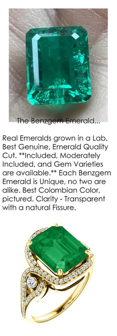 4.00 Ct. Benzgem by GuyDesign® Lab-Created Beryl Emerald, Mined Diamond and Gold Semi Mount Ring, 7081