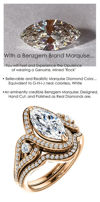 3 Stone Engagement Ring, Halo Engagement Rings, Diamond Semi-Mount, Marquise Cut, Rose Gold, Simulated Diamond, Natural Diamond, Wedding Sets, 7082