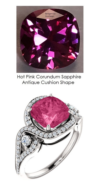 3.90 Ct. Benzgem by GuyDesign® Lab-Created Corundum Hot Pink Cushion Sapphire, Mined Diamond Semi Mount, White Gold Ring 7085