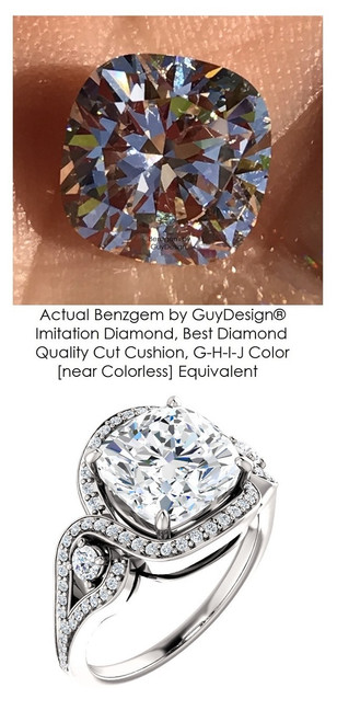 3 Carats and 21 points, Benzgem by GuyDesign® Best Cushion Shape Diamond Copy, Mined Diamond Semi Mount and White Gold Ring 7086