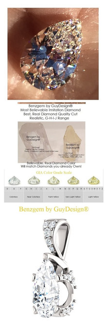 2 Carat and 85 points, Benzgem by GuyDesign® Pear Shape, Best Diamond Simulant, Mined Diamond Encrusted, Gold Pendant Necklace 7089