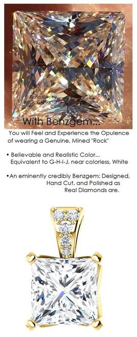 3.81 Ct. Princess Cut Benzgem: Best G-H-I-J Diamond Quality Color Imitation; GuyDesign® Mined Diamond Encrusted Pendant Necklace: Custom Gold Jewelry - 7091