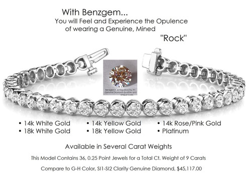 Benzgem by GuyDesign® Illusion Bracelet, 9 Carats of G-H-I-J Color, 0.25 Carat Hearts & Arrows Round Imitation Diamonds, 14k White Gold, 7113