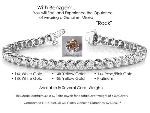 Benzgem by GuyDesign® Illusion Bracelet, 6.50 Carats of G-H-I-J Color, 0.16 Carat Hearts & Arrows Round Imitation Diamonds, 14k White Gold, 7114