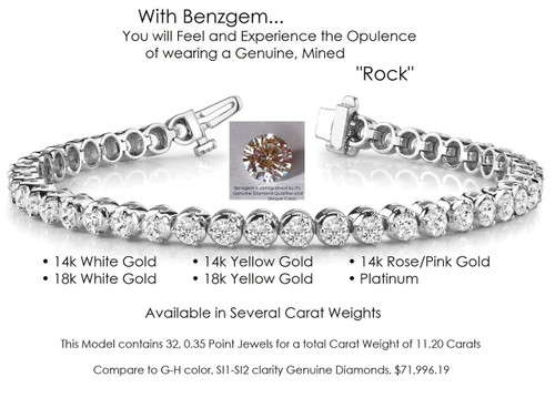 Benzgem by GuyDesign® Illusion Bracelet, 11.20 Carats of G-H-I-J Color, 0.35 Carat Hearts & Arrows Round Imitation Diamonds, 14k White Gold, 7115