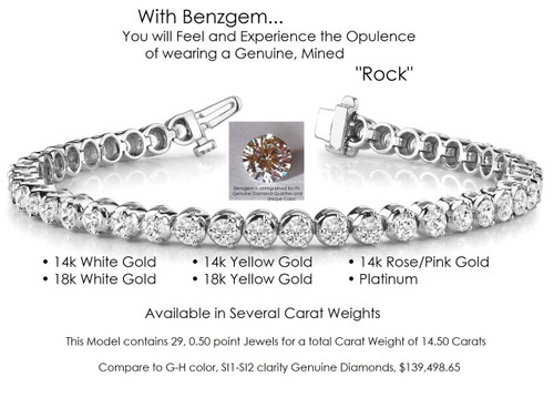 Benzgem by GuyDesign® Illusion Bracelet, 14.50 Carats of G-H-I-J Color, 0.50 Carat Hearts & Arrows Round Imitation Diamonds, 14k White Gold, 7116