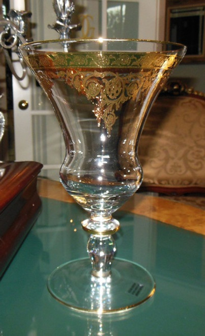 Lyvrich - Clear Crystal Glass Stem Vase - Golden Rococo - 10.25t X 6.5dia 24 Karat Gold