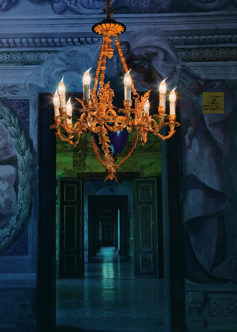 "European Chandelier in Blue Porcelain and Gilt Bronze Ormolu - 35.5""t x 27.50""dia. - 9 Lights with 24 Karat Gold Finish, 6983"