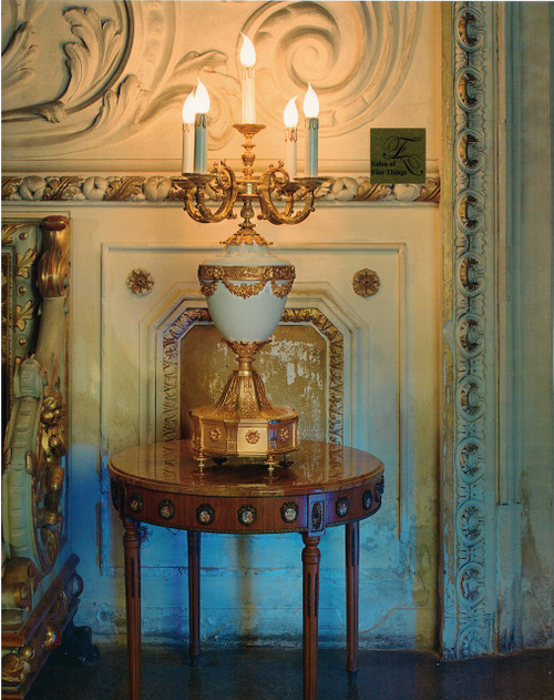 "European Electric Candelabrum in Porcelain and Gilt Bronze Ormolu - 33.50""t x 17.75""dia. - Opulent 24 Karat Gold Finish, 6985"