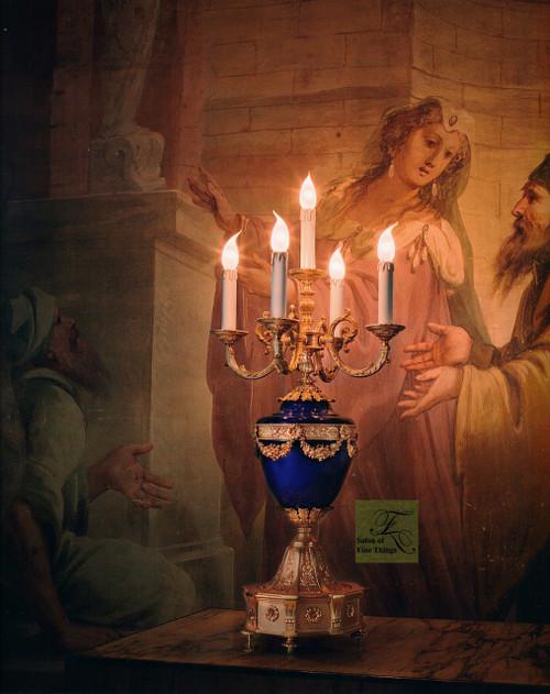 "European Electric Candelabrum in Porcelain and Gilt Bronze Ormolu - 33.50""t x 17.75""dia. - Opulent 24 Karat Gold Finish, 6986"