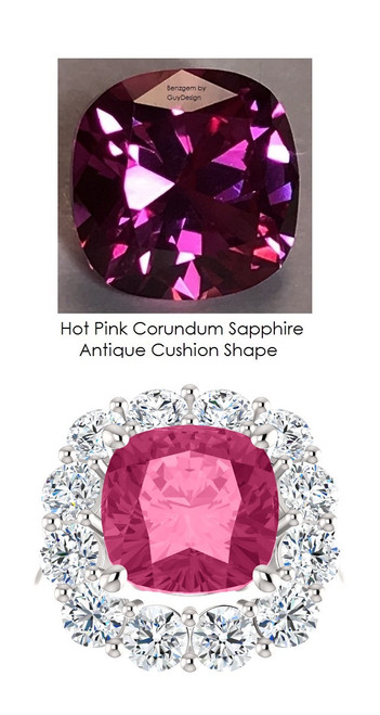3.90 Classic Cluster Right Hand Ring by GuyDesign®, Benzgem Created Hot Pink Cushion Lab-Created Sapphire 3.90 Carats, 1.80 Carats of Hearts & Arrows F+, VS Diamonds in Platinum Semi-Mount, 7029