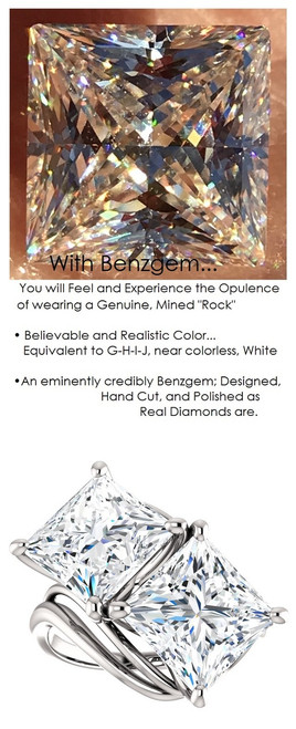 3.81 Benzgem by GuyDesign® 7.62 Carats Quadrillion Princess Fantasy Diamond, Diamond White, Cream Tint, G-H-I-J Color, Most Believable Fake Diamond, Ever & Ever Ring, Platinum, 6701