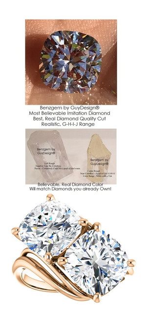 6 Carat and 42 points, Ladies Two Stone Forever Rose Gold Ring, Benzgem by GuyDesign® Premium Cushion G-J Color Lab-Created Imitation Diamond 7050