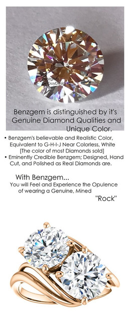 3.82 Ct. Ladies Two Stone Forever Rose Gold Ring, Benzgem by GuyDesign® Premium Hearts & Arrows G-J Color Lab-Created Imitation Diamond 7056