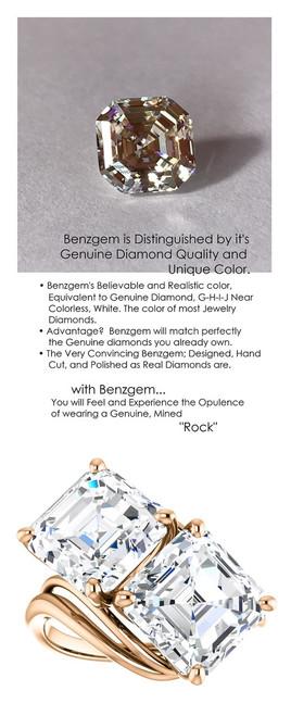 9 Carat, Ladies Two Stone Forever Rose Gold Ring, Benzgem by GuyDesign® Premium Diamond Cut Asscher Shape G-J Color Lab-Created Imitation Diamond 7057