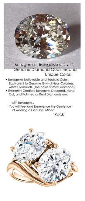 5.32 Ct. Ladies Two Stone Forever Red Gold Ring, Benzgem by GuyDesign® Premium, Brilliant Oval Shape G-J Color Lab-Created Imitation Diamond 7058