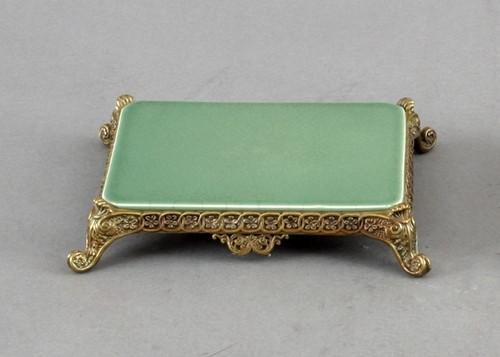 High End Scroll Platform - Luxury Hand Painted Porcelain and Gilt Bronze Ormolu - 6.25 Inch Celadon Rectangular Display Stand