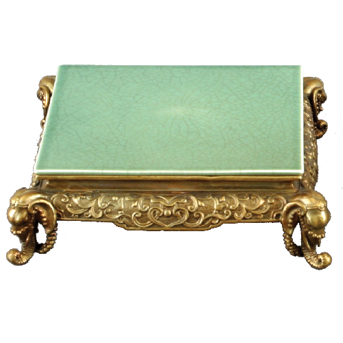 High End Indian Elephant Motif Platform - Luxury Hand Painted Porcelain and Gilt Bronze Ormolu - 6.75 Inch Celadon Round Display Stand