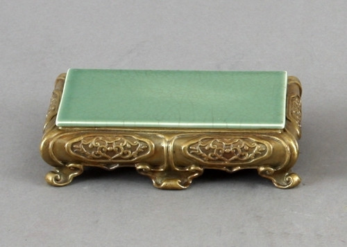 High End Bombe Platform - Luxury Hand Painted Porcelain and Gilt Bronze Ormolu - 6.75 Inch Celadon Rectangular Display Stand
