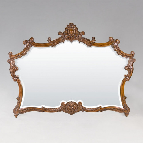 "A Versailles Louis XIV French Baroque Period - 77"" Handcrafted Reproduction Wall, Buffet, Mantel, Console Mirror - Walnut Luxurie Furniture Finish, 6373"