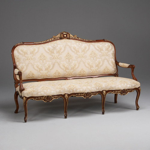 The Queen of Versailles Marie Leszezynska - French Rococo Period Louis XV - 71 Inch Handcrafted Reproduction Sofa | Canape - Damask Upholstery - Wood Tone and Gilt Luxurie Furniture Finish