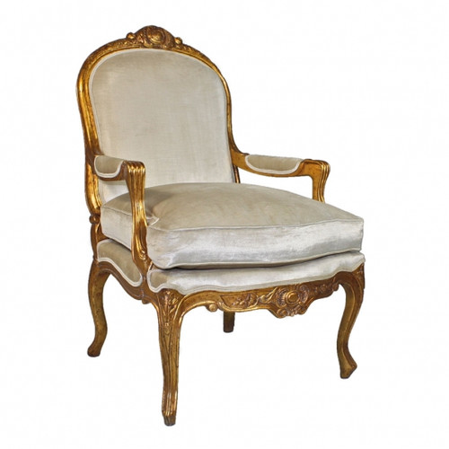 The Queen of Versailles Marie Leszezynska - Louis XV French Rococo Period - 40 Inch Handcrafted Reproduction Salon Arm Chair   Fauteuil - Velvet Upholstery - Metallic Gold Luxurie Furniture Finish 6370 - Reproduction Salon Fauteuil
