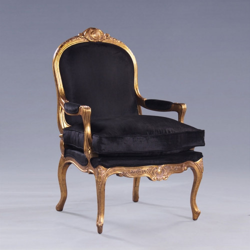 The Queen of Versailles Marie Leszezynska - Louis XV French Rococo Period - 40 Inch Handcrafted Reproduction Salon Arm Chair   Fauteuil - Velvet Upholstery - Metallic Gold Luxurie Furniture Finish
