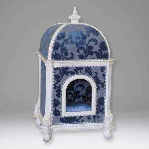A Versailles Louis XVI French Neo Classical Period 37 Inch Petit Palace for the Pampered Dog or Cat - Damask Upholstery and White Painted Luxurie Furniture Finish