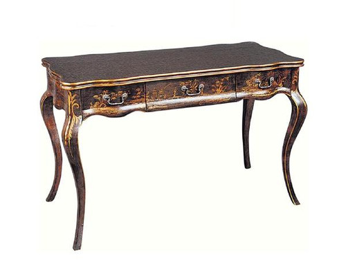 Luxe Life Louis XV Style - 48 Inch Chinoiserie Reproduction Writing Desk - Ebony Black Finish with Gilt Accents
