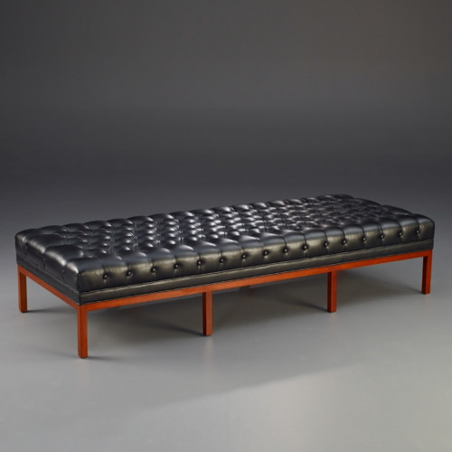 A Manhattan Modern - Contemporary - Art Deco - 75 Inch Handcrafted Bench - Hand Tufted Ebony Black Leather Upholstery - Wood Stain Luxurie Furniture Finish