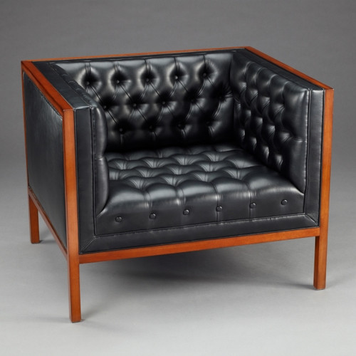 A Manhattan Modern - Contemporary - Art Deco - 35 Inch Handcrafted Arm Chair - Hand Tufted Ebony Black Leather Upholstery - Wood Stain Luxurie Furniture Finish