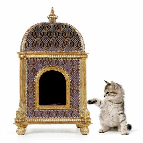 A Versailles Louis XVI French Neo Classical Period 37 Inch Petit Palace for the Pampered Dog or Cat - Upholstery and Metallic Luxurie Furniture Finish 6356 - Handcrafted Reproduction