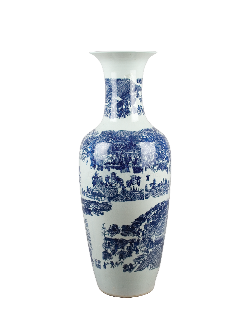 Classic Blue and White Pattern, Luxury Hand Painted Porcelain, 38 Inch Palace Vase
