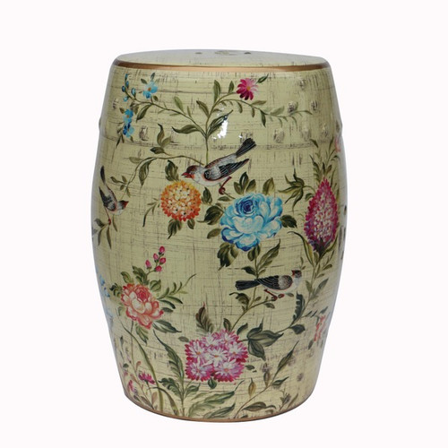An Artisan Essence, Handmade, Handpainted Flowers and Birds Garden Seat, Stool, Accent Table 7131.23190 - Table | Seat | Stool