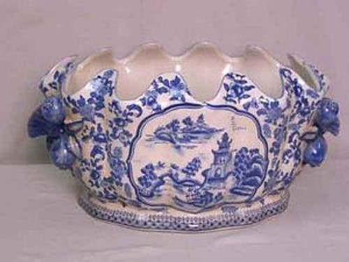 Blue and White Pagoda - Luxury Handmade and Painted Reproduction Chinese Porcelain - 16 Inch Scalloped Rim Footbath, Centerpiece Planter - Style C591
