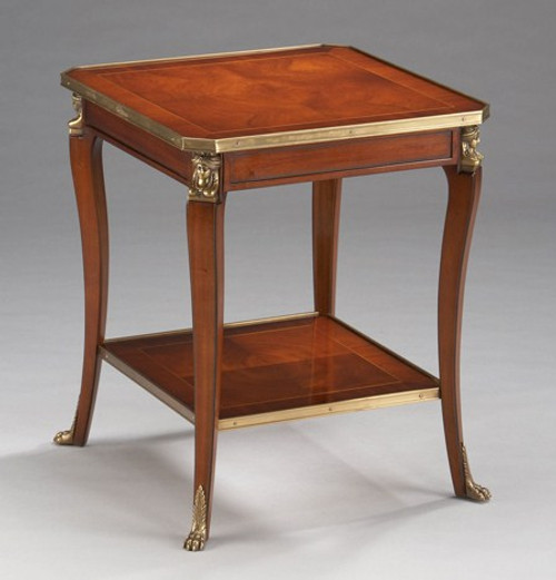 A Napoleon French Empire Style - 19 Inch Handcrafted Reproduction Salon Side | Lamp | Square End Table - Wood Luxurie Furniture Finish MLSC with Gilt Brass Ormolu Mounts
